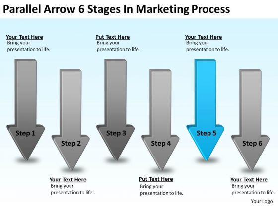 Flowchart Parallel Process Arrow 6 Stages In Marketing PowerPoint Templates
