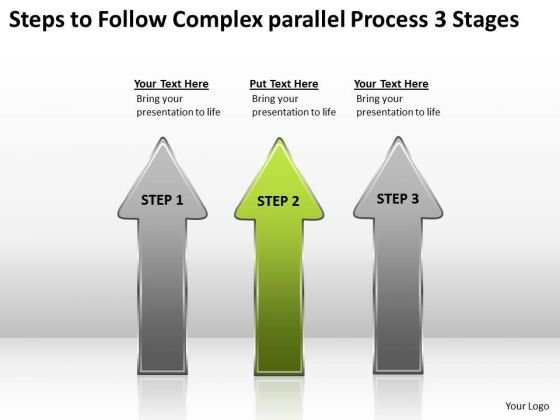 Follow Complex Parallel Process 3 Stages Cleaning Company Business Plan PowerPoint Slides