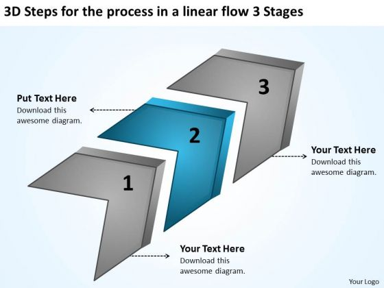 For The Process In A Linear Flow 3 Stages Business Plan Sample Pdf PowerPoint Templates