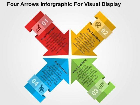 Four Arrows Inforgraphic For Visual Display PowerPoint Templates