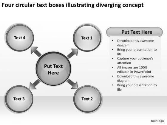 Four Circular Text Boxes Illustrating Diverging Concept Pie Network PowerPoint Templates