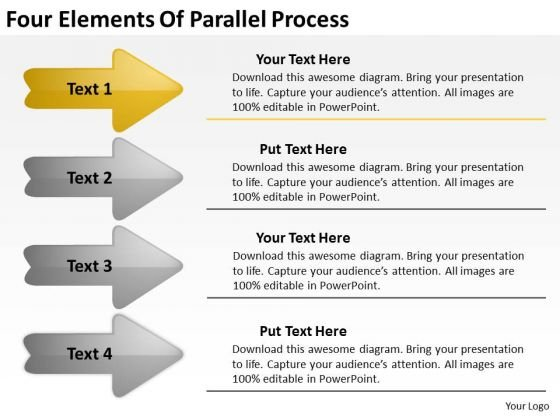 Four Elements Of Parallel Process Need Business Plan PowerPoint Templates