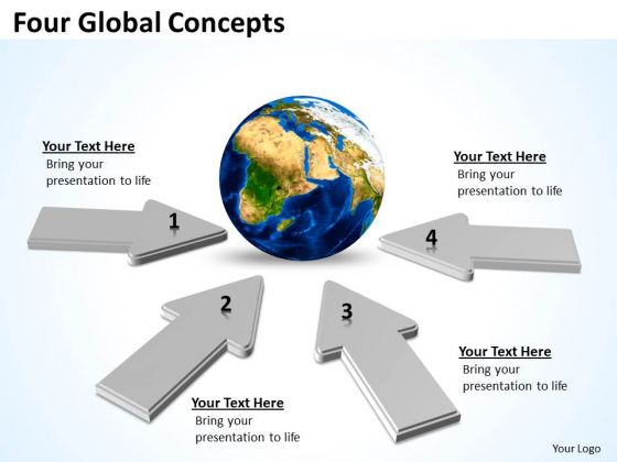 Four Global Concepts Circular Flow Layout Chart PowerPoint Templates