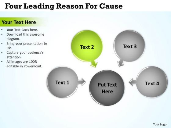 Four Leading Reason For Cause Circular Flow Motion Process PowerPoint Templates
