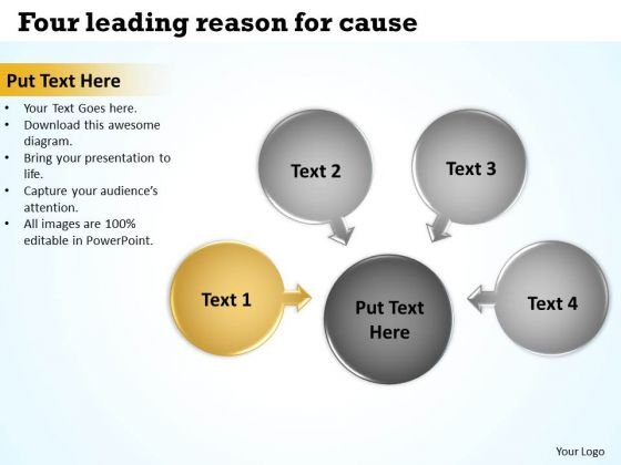 Four Leading Reason For Cause Ppt Circular Flow Motion Process PowerPoint Templates