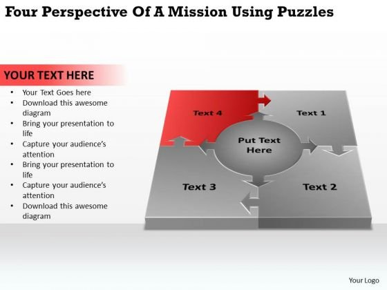 Four Perspective Of A Mission Using Puzzles Cheap Business Plan PowerPoint Slides