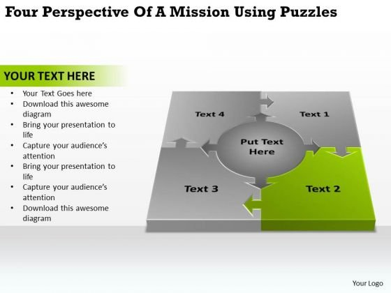 Four Perspective Of A Mission Using Puzzles How To Create Business Plan PowerPoint Templates