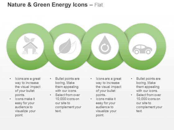 Four Sequential Green Energy And Nature Icons Ppt Slides Graphics