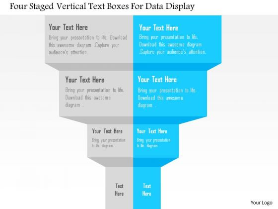 Four Staged Vertical Text Boxes For Data Display Presentation Template