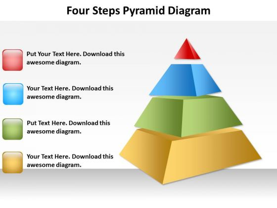 Four Steps Pyramid Diagram Templates PowerPoint Chart