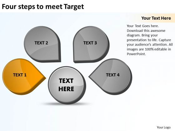 Four Steps To Meet Target Ppt Venn Chart PowerPoint Templates