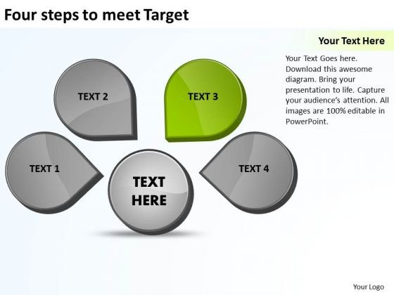 Four Steps To Meet Target Relative Cycle Arrow Process PowerPoint Slides
