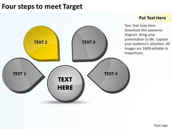 Four Steps To Meet Target Venn Chart PowerPoint Templates