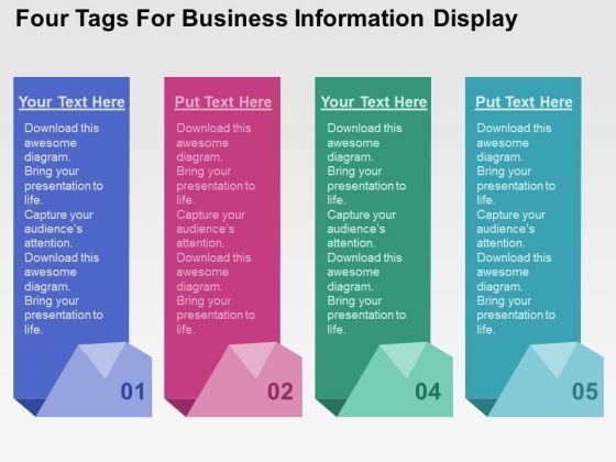 Four Tags For Business Information Display PowerPoint Template