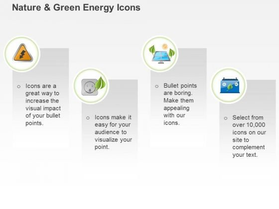 Four Text Icons With Power Generation Symbols Ppt Slides Graphics