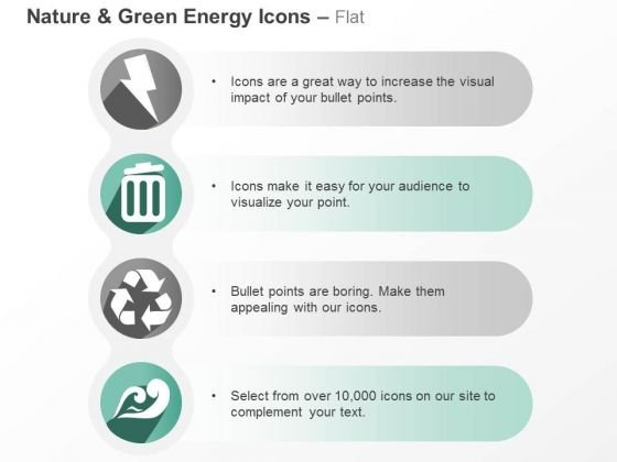 Four Vertical Green Energy Symbols Ppt Slides Graphics