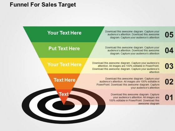 Funnel For Sales Target PowerPoint Template