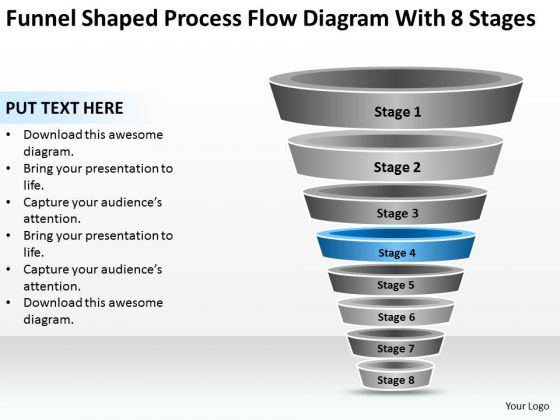 Funnel Shaped Process Flow Diagram With 8 Stages Ppt Elements Business Plan PowerPoint Templates