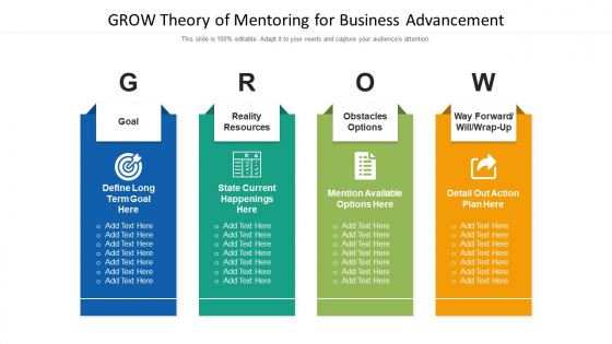 GROW Theory Of Mentoring For Business Advancement Ppt PowerPoint Presentation Gallery Slide Download PDF