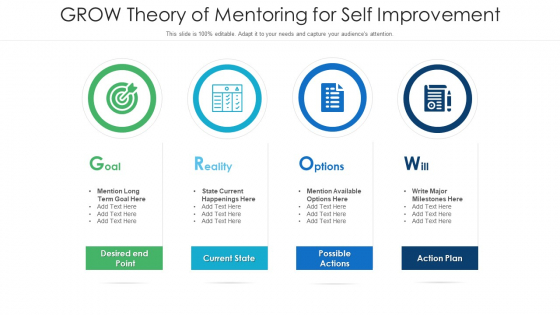 GROW Theory Of Mentoring For Self Improvement Ppt PowerPoint Presentation File Sample PDF