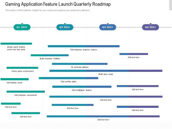 Gaming Application Feature Launch Quarterly Roadmap Diagrams