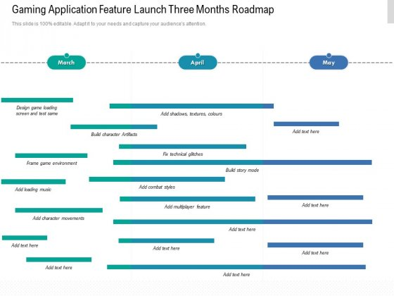 Gaming Application Feature Launch Three Months Roadmap Download
