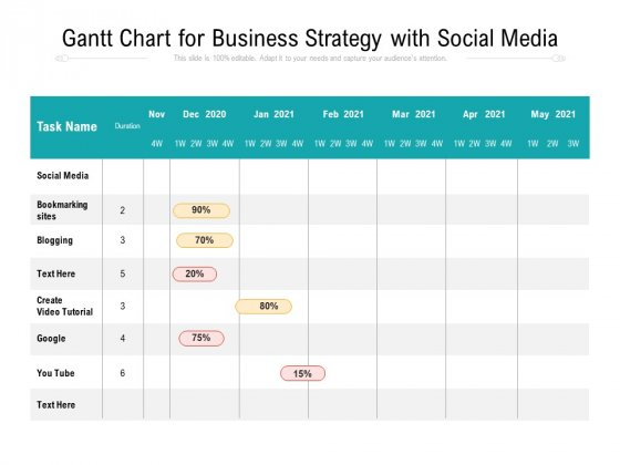 Gantt Chart For Business Strategy With Social Media Ppt PowerPoint Presentation File Brochure PDF