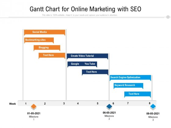 Gantt Chart For Online Marketing With SEO Ppt PowerPoint Presentation File Pictures PDF