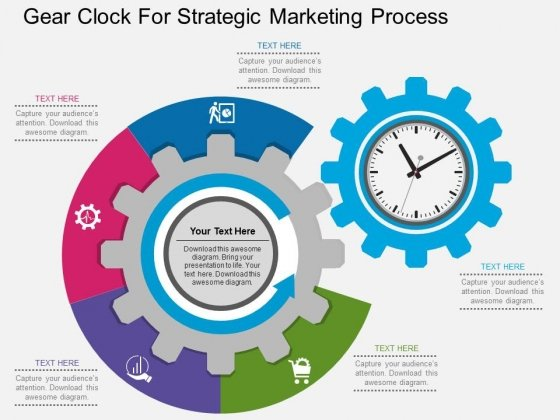 Gear Clock For Strategic Marketing Process Powerpoint Template