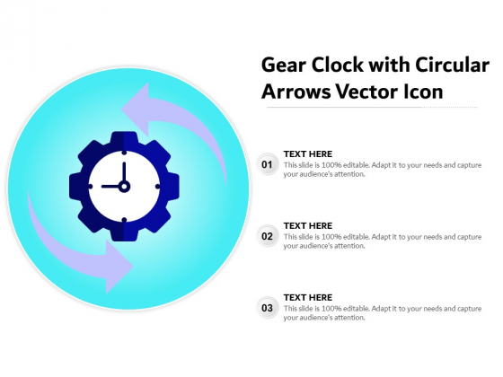 Gear Clock With Circular Arrows Vector Icon Ppt PowerPoint Presentation Pictures Background Designs PDF