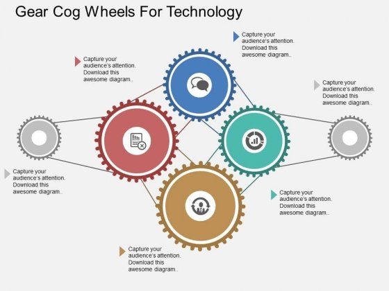 Gear Cog Wheels For Technology Powerpoint Templates