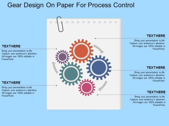 Gear Design On Paper For Process Control Powerpoint Templates