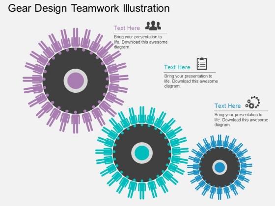 Gear Design Teamwork Illustration Powerpoint Template