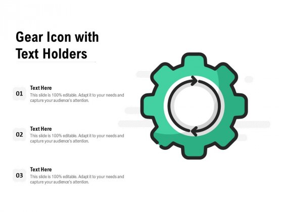 Gear Icon With Text Holders Ppt PowerPoint Presentation Inspiration Objects PDF