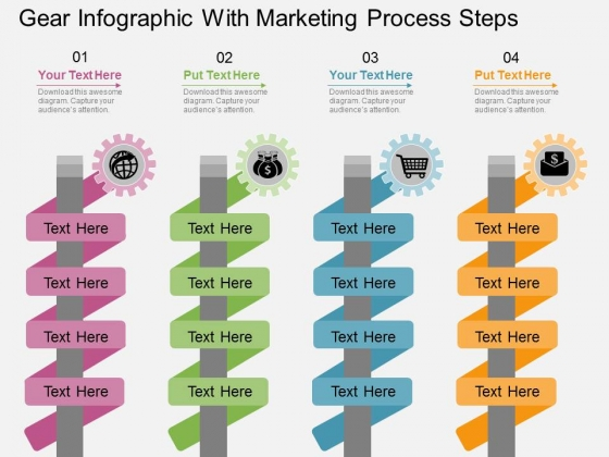 Gear Infographic With Marketing Process Steps Powerpoint Template