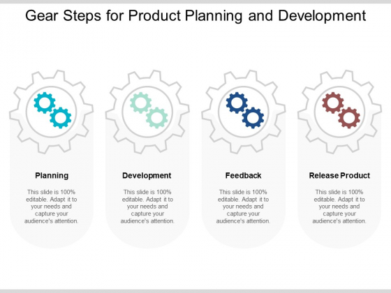 Gear Steps For Product Planning And Development Ppt PowerPoint Presentation Model Influencers