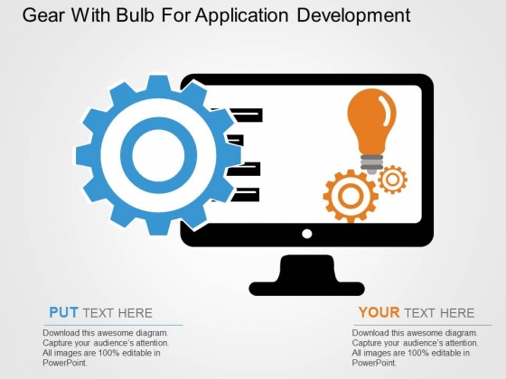 Gear With Bulb For Application Development Powerpoint Templates