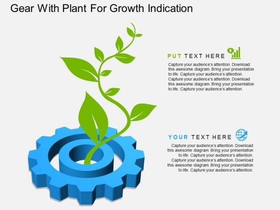 Gear With Plant For Growth Indication Powerpoint Template