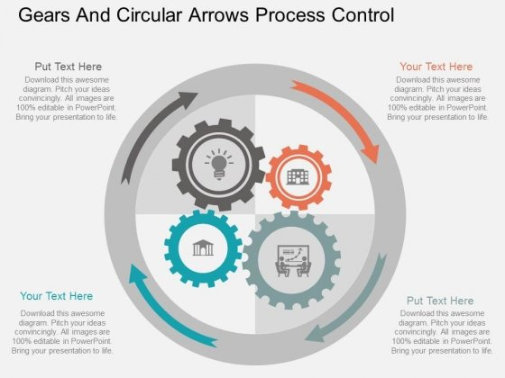 Gears And Circular Arrows Process Control Powerpoint Template