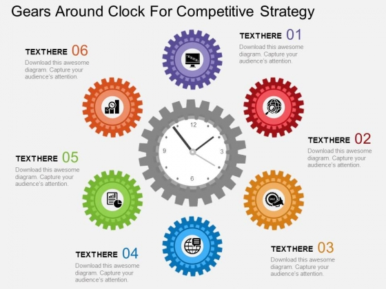 Gears Around Clock For Competitive Strategy Powerpoint Template