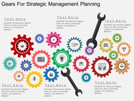 gears for strategic management planning powerpoint template, Modern powerpoint