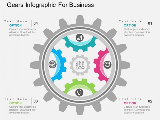 Gears Infographic For Business Powerpoint Templates