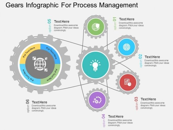 Gears Infographic For Process Management Powerpoint Templates