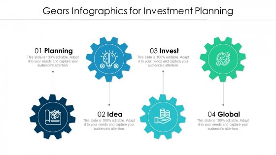 Gears Infographics For Investment Planning Ppt PowerPoint Presentation File Format PDF