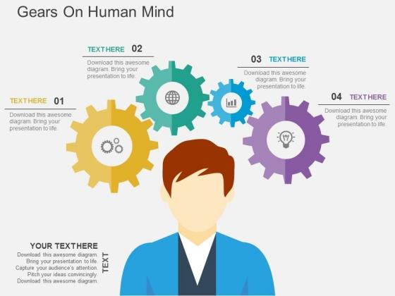 Gears On Human Mind Powerpoint Templates