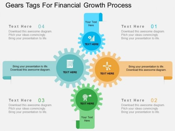 Gears Tags For Financial Growth Process Powerpoint Template