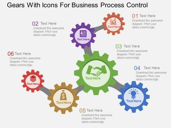 Gears With Icons For Business Process Control Powerpoint Template