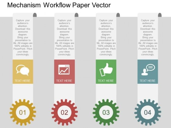Gears With Tags For Workflow Mechanism Powerpoint Template