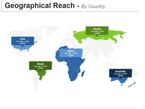 Geographical Reach By Country Ppt PowerPoint Presentation Show Background Designs
