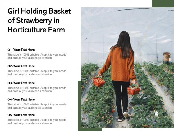Girl Holding Basket Of Strawberry In Horticulture Farm Ppt PowerPoint Presentation Model Demonstration PDF